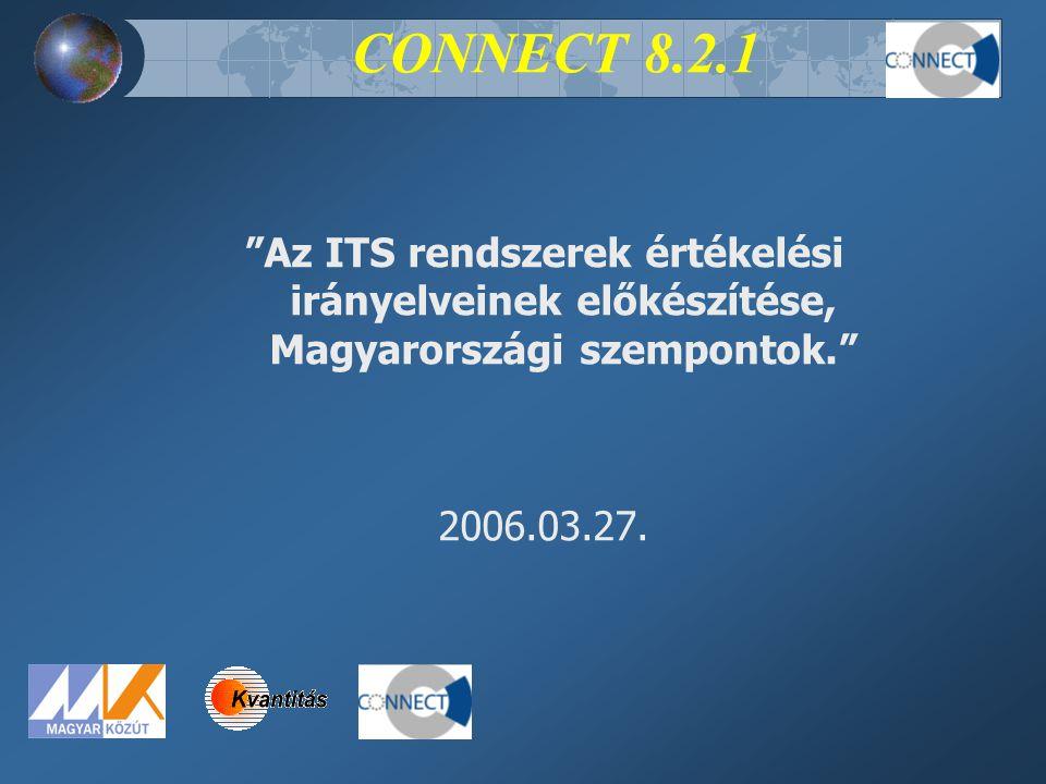 """CONNECT 8.2.1 """"Az ITS rendszerek értékelési irányelveinek előkészítése, Magyarországi szempontok."""" 2006.03.27."""