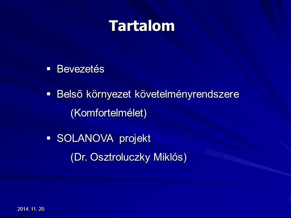 2014. 11. 20.2014. 11. 20.2014. 11. 20. Tartalom  Bevezetés  Belső környezet követelményrendszere (Komfortelmélet)  SOLANOVA projekt (Dr. Osztroluc