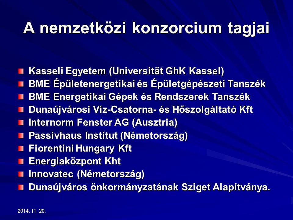 2014. 11. 20.2014. 11. 20.2014. 11. 20. A nemzetközi konzorcium tagjai Kasseli Egyetem (Universität GhK Kassel) BME Épületenergetikai és Épületgépésze