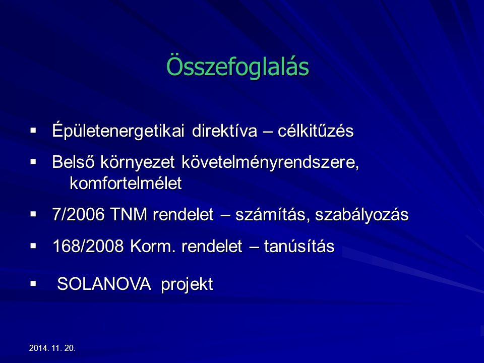 2014. 11. 20.2014. 11. 20.2014. 11. 20. Összefoglalás  Épületenergetikai direktíva – célkitűzés  Belső környezet követelményrendszere, komfortelméle