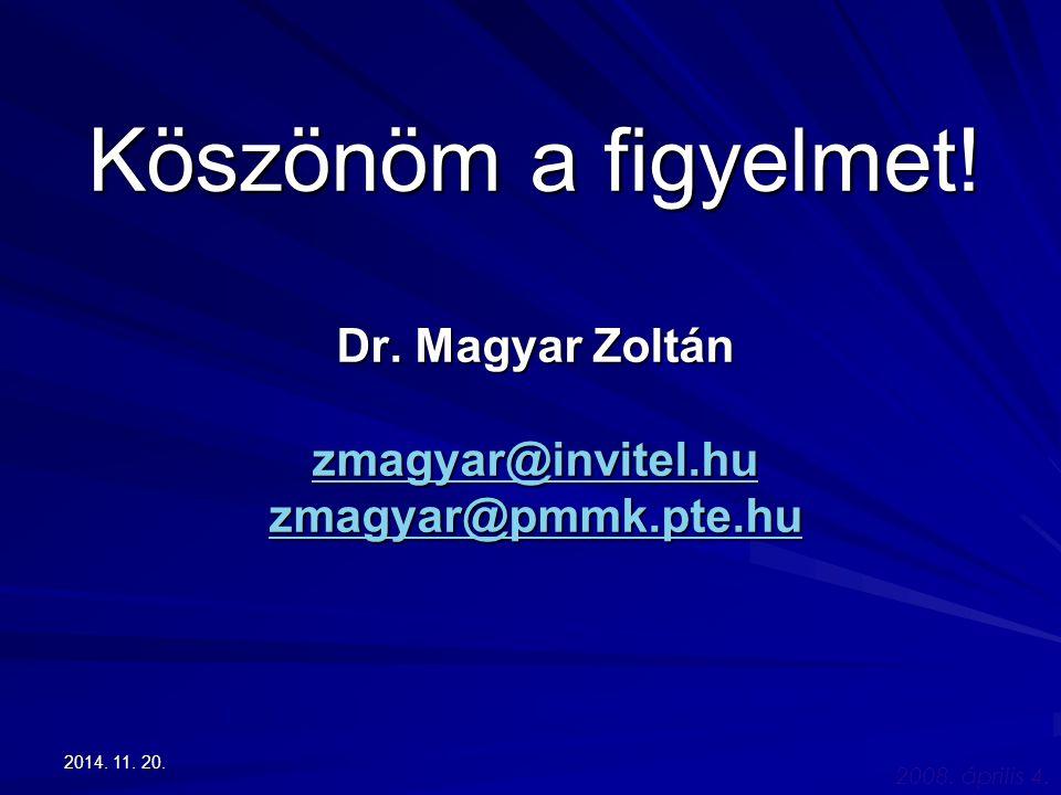 2008. április 4. 2014. 11. 20.2014. 11. 20.2014. 11. 20. Köszönöm a figyelmet! Dr. Magyar Zoltán zmagyar@invitel.hu zmagyar@pmmk.pte.hu zmagyar@invite