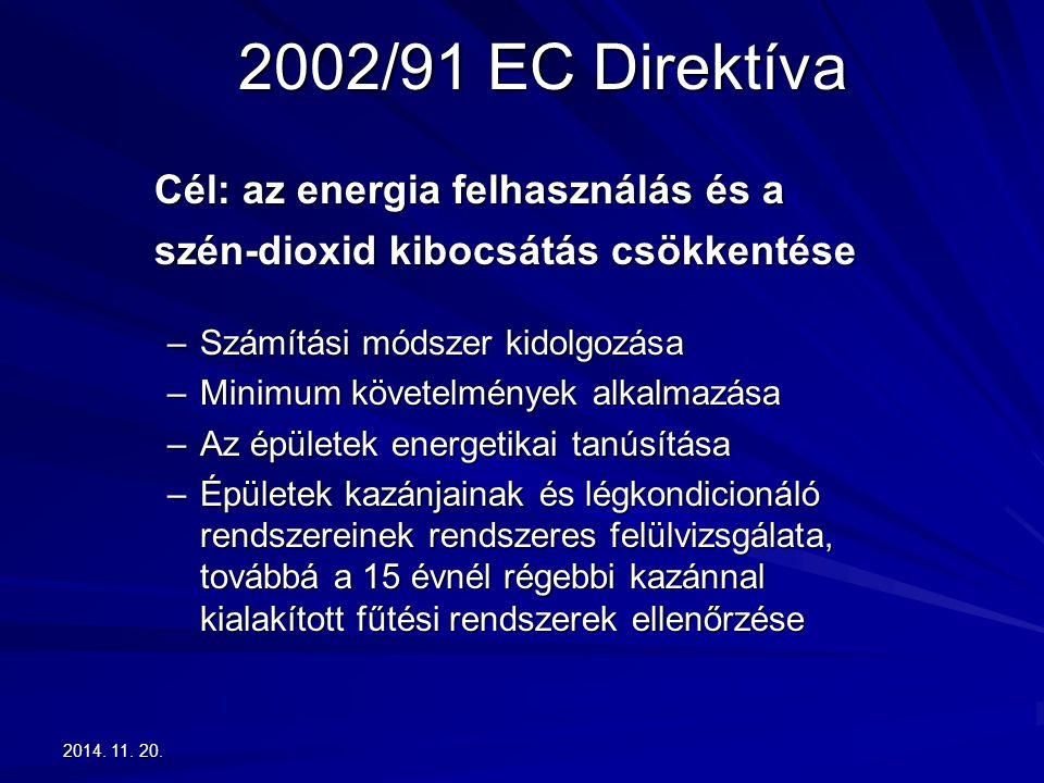 2014. 11. 20.2014. 11. 20.2014. 11. 20. 2002/91 EC Direktíva Cél: az energia felhasználás és a szén-dioxid kibocsátás csökkentése –Számítási módszer k