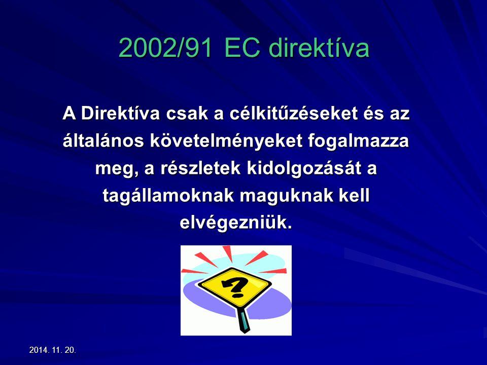 2014. 11. 20.2014. 11. 20.2014. 11. 20. 2002/91 EC direktíva A Direktíva csak a célkitűzéseket és az általános követelményeket fogalmazza meg, a részl