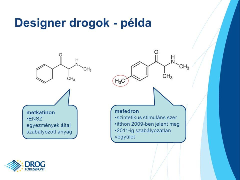 Designer drogok - példa metkatinon ENSZ egyezmények által szabályozott anyag mefedron szintetikus stimuláns szer itthon 2009-ben jelent meg 2011-ig szabályozatlan vegyület