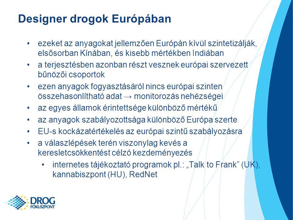 """ezeket az anyagokat jellemzően Európán kívül szintetizálják, elsősorban Kínában, és kisebb mértékben Indiában a terjesztésben azonban részt vesznek európai szervezett bűnözői csoportok ezen anyagok fogyasztásáról nincs európai szinten összehasonlítható adat → monitorozás nehézségei az egyes államok érintettsége különböző mértékű az anyagok szabályozottsága különböző Európa szerte EU-s kockázatértékelés az európai szintű szabályozásra a válaszlépések terén viszonylag kevés a keresletcsökkentést célzó kezdeményezés internetes tájékoztató programok pl.: """"Talk to Frank (UK), kannabiszpont (HU), RedNet Designer drogok Európában"""