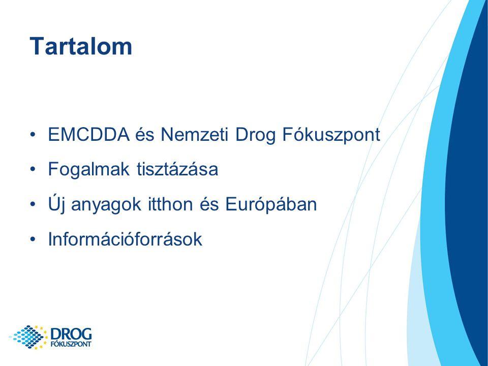 Tartalom EMCDDA és Nemzeti Drog Fókuszpont Fogalmak tisztázása Új anyagok itthon és Európában Információforrások
