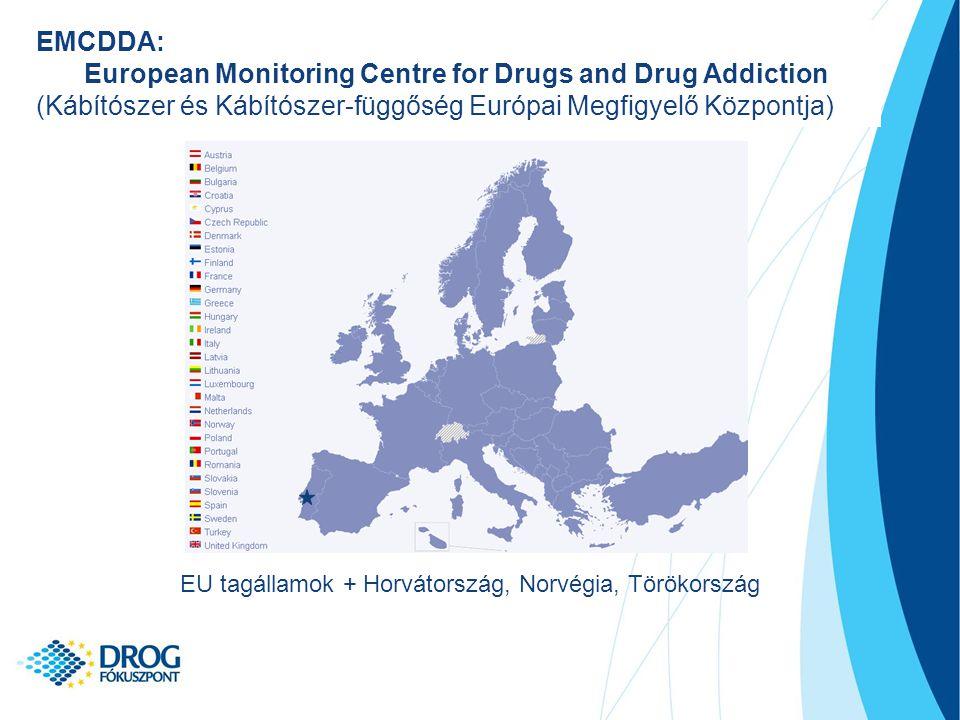 EMCDDA: European Monitoring Centre for Drugs and Drug Addiction (Kábítószer és Kábítószer-függőség Európai Megfigyelő Központja) EU tagállamok + Horvátország, Norvégia, Törökország