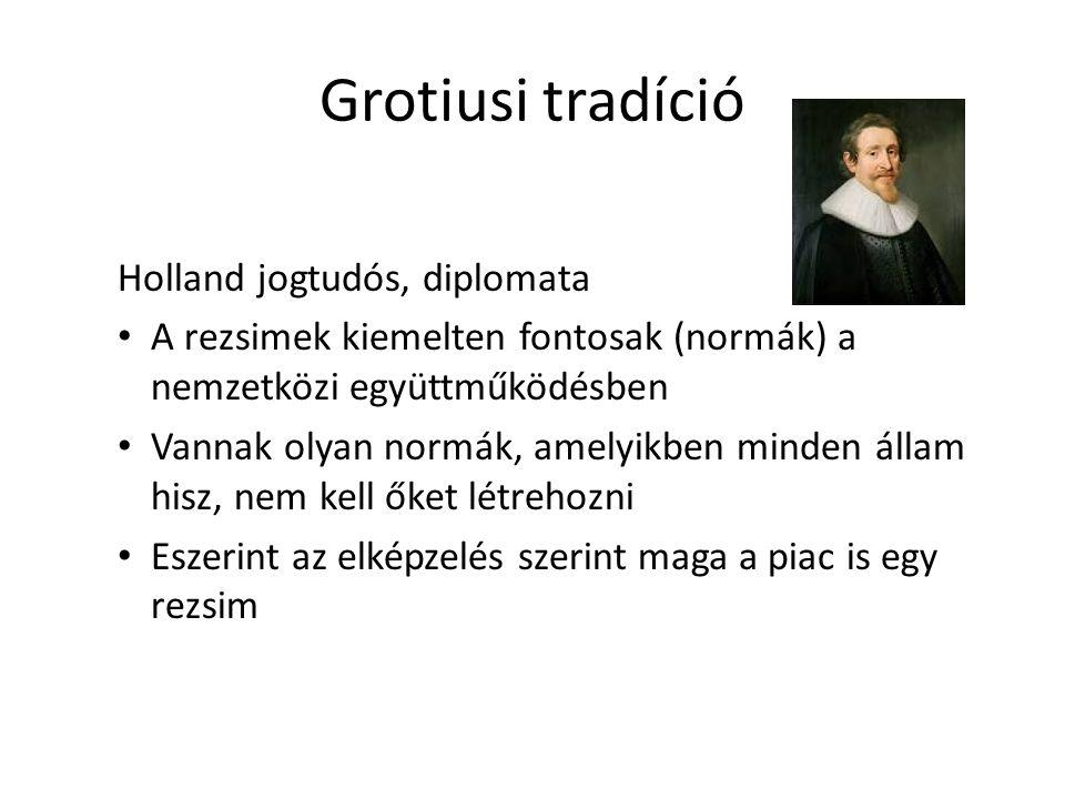 Grotiusi tradíció Holland jogtudós, diplomata A rezsimek kiemelten fontosak (normák) a nemzetközi együttműködésben Vannak olyan normák, amelyikben minden állam hisz, nem kell őket létrehozni Eszerint az elképzelés szerint maga a piac is egy rezsim
