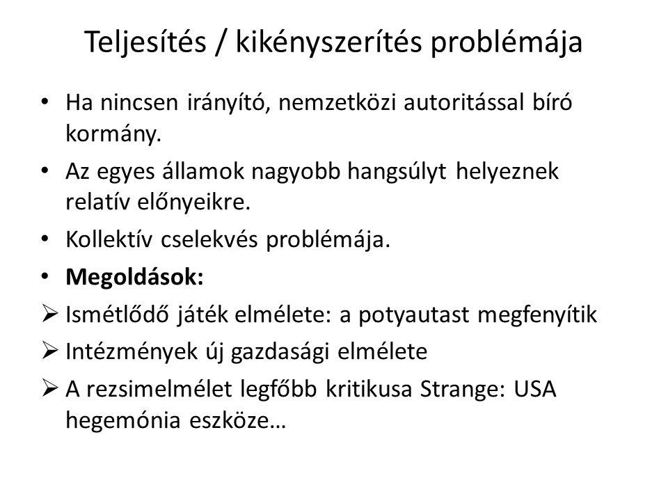 Teljesítés / kikényszerítés problémája Ha nincsen irányító, nemzetközi autoritással bíró kormány.