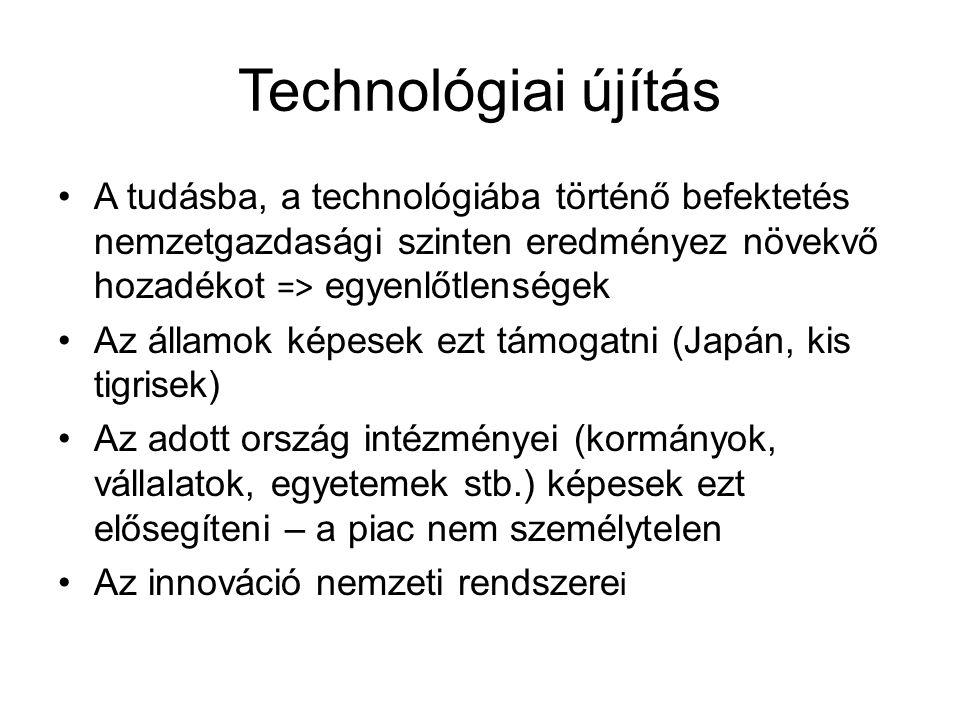 Technológiai újítás A tudásba, a technológiába történő befektetés nemzetgazdasági szinten eredményez növekvő hozadékot => egyenlőtlenségek Az államok képesek ezt támogatni (Japán, kis tigrisek) Az adott ország intézményei (kormányok, vállalatok, egyetemek stb.) képesek ezt elősegíteni – a piac nem személytelen Az innováció nemzeti rendszere i