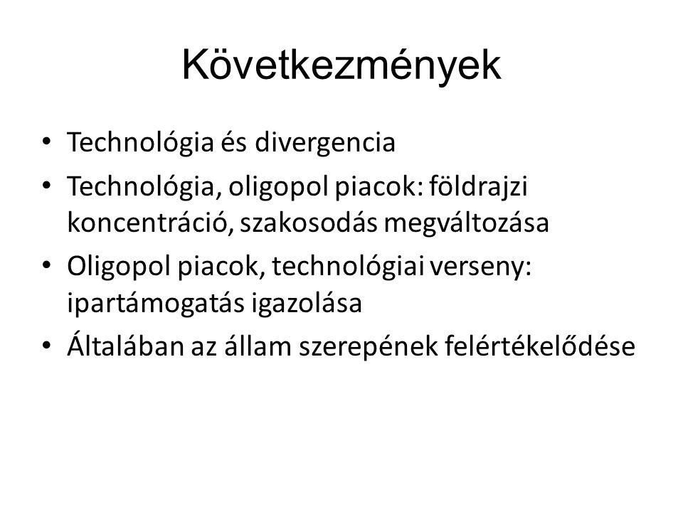 Következmények Technológia és divergencia Technológia, oligopol piacok: földrajzi koncentráció, szakosodás megváltozása Oligopol piacok, technológiai verseny: ipartámogatás igazolása Általában az állam szerepének felértékelődése