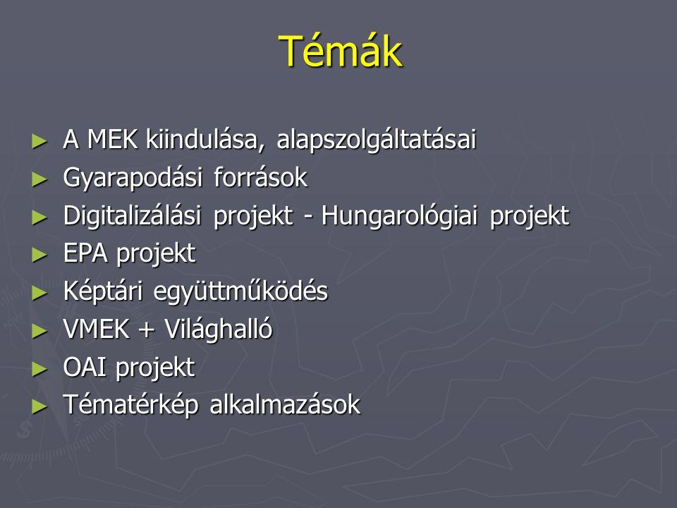 Témák ► A MEK kiindulása, alapszolgáltatásai ► Gyarapodási források ► Digitalizálási projekt - Hungarológiai projekt ► EPA projekt ► Képtári együttműködés ► VMEK + Világhalló ► OAI projekt ► Tématérkép alkalmazások
