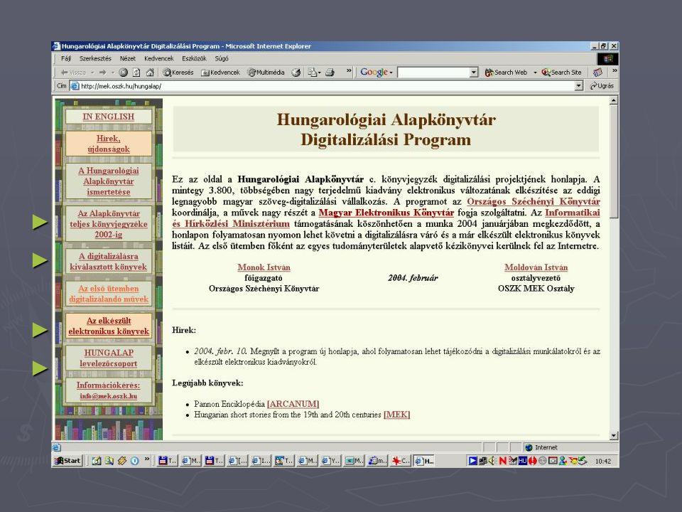 """Digitalizálás Hungarológiai Alapkönyvtár http://mek.oszk.hu/hungalap ► A magyarságtudomány alapvető kézikönyvei ► Könyvjegyzékek - 3.800 cím - Nemzeti Digitális Adattár ► OSZK - NDA projekt – """"első lépcső ► Kivitelezés  digitalizálás : XML  HTML  CD-ROM konverzió"""