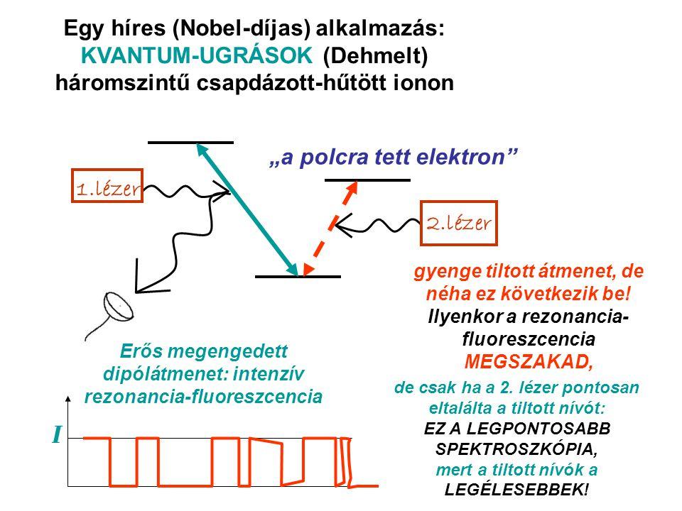 Egy híres (Nobel-díjas) alkalmazás: KVANTUM-UGRÁSOK (Dehmelt) háromszintű csapdázott-hűtött ionon 1.lézer 2.lézer Erős megengedett dipólátmenet: intenzív rezonancia-fluoreszcencia gyenge tiltott átmenet, de néha ez következik be.