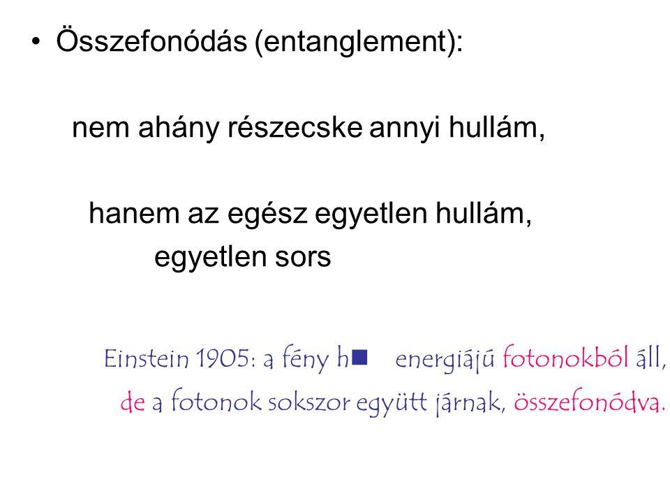 Összefonódás (entanglement): nem ahány részecske annyi hullám, hanem az egész egyetlen hullám, egyetlen sors Einstein 1905: a fény hn energiájú fotono