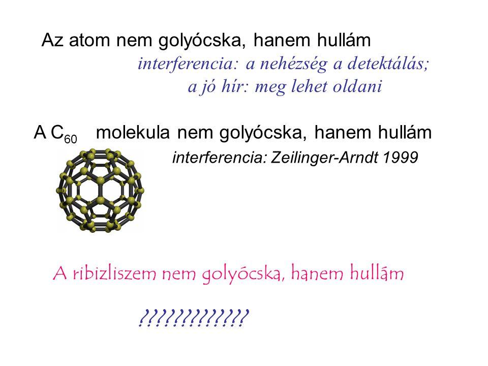 Az atom nem golyócska, hanem hullám interferencia: a nehézség a detektálás; a jó hír: meg lehet oldani A C molekula nem golyócska, hanem hullám 60 interferencia: Zeilinger-Arndt 1999 A ribizliszem nem golyócska, hanem hullám ?????????????