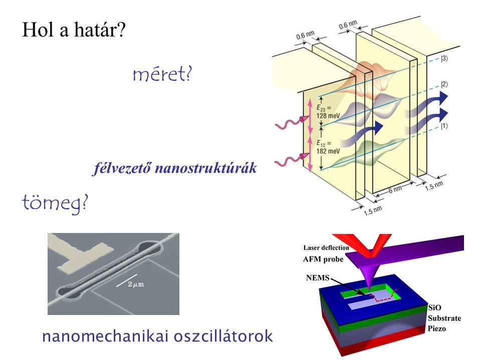 Hol a határ? félvezető nanostruktúrák méret? tömeg? nanomechanikai oszcillátorok