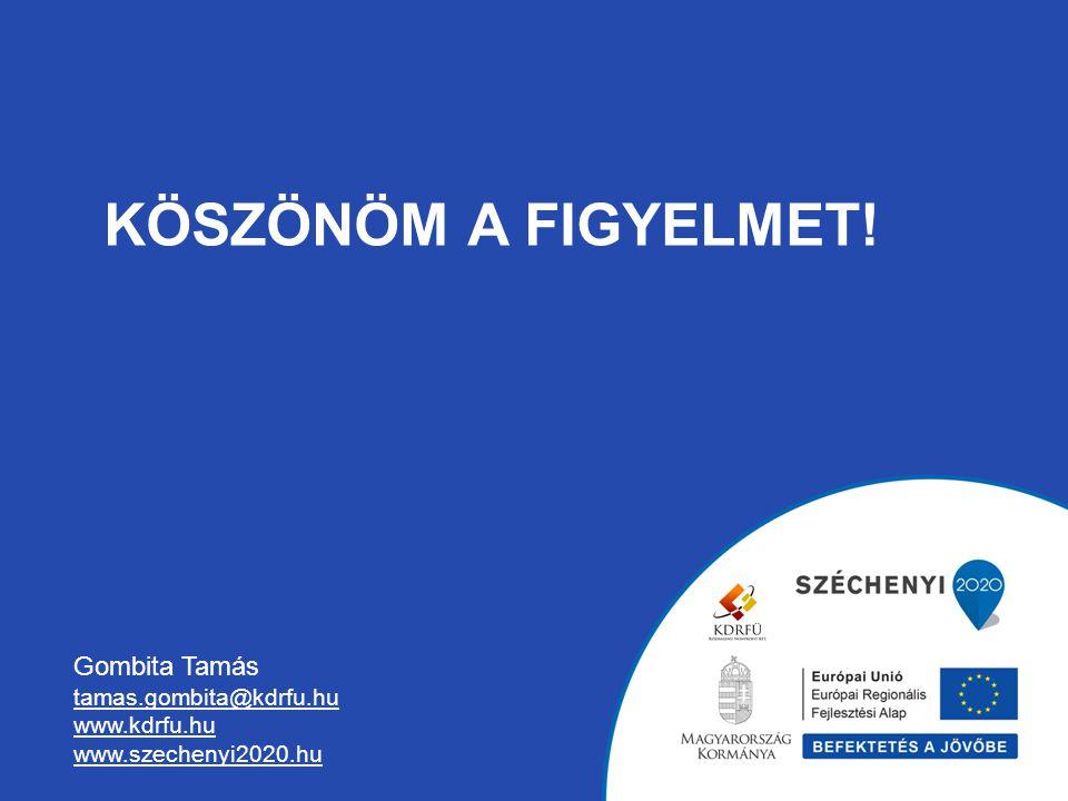 KÖSZÖNÖM A FIGYELMET! Gombita Tamás tamas.gombita@kdrfu.hu www.kdrfu.hu www.szechenyi2020.hu