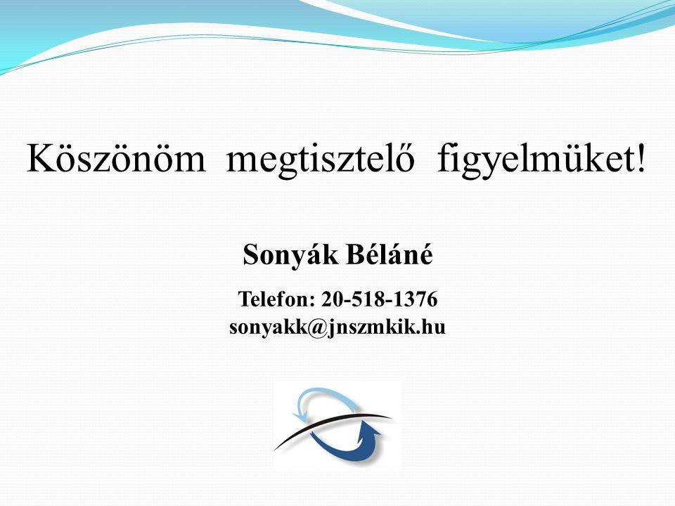 Köszönöm megtisztelő figyelmüket! Sonyák Béláné Telefon: 20-518-1376 sonyakk@jnszmkik.hu