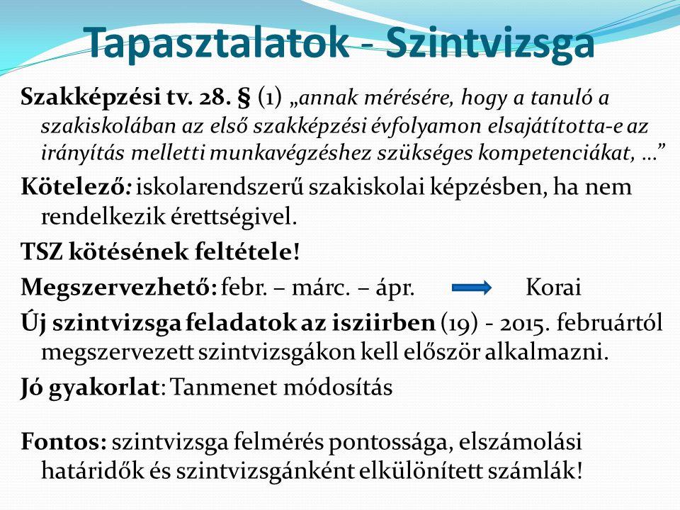"""Tapasztalatok - Szintvizsga Szakképzési tv. 28. § (1) """" annak mérésére, hogy a tanuló a szakiskolában az első szakképzési évfolyamon elsajátította-e a"""