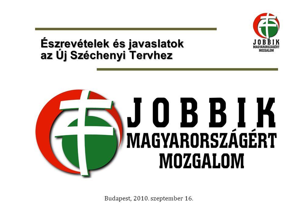 Budapest, 2010. szeptember 16. Észrevételek és javaslatok az Új Széchenyi Tervhez