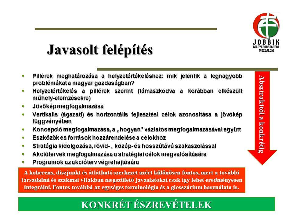 Javasolt felépítés  Pillérek meghatározása a helyzetértékeléshez: mik jelentik a legnagyobb problémákat a magyar gazdaságban?  Helyzetértékelés a pi