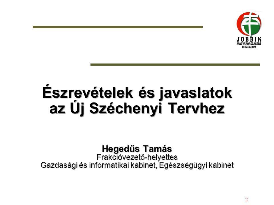 Észrevételek és javaslatok az Új Széchenyi Tervhez Hegedűs Tamás Frakcióvezető-helyettes Gazdasági és informatikai kabinet, Egészségügyi kabinet 2