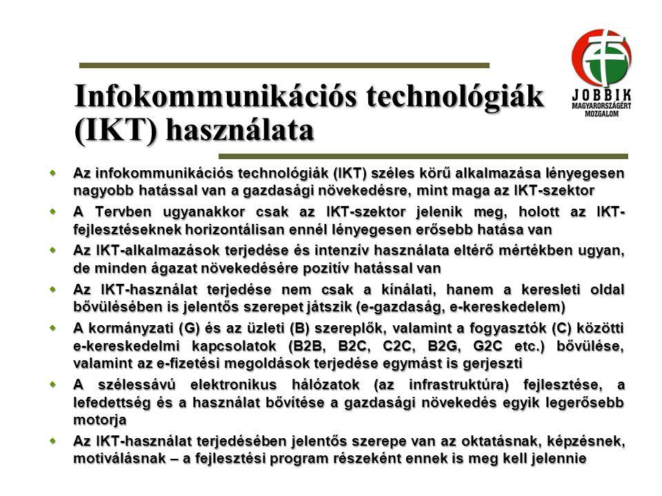 Infokommunikációs technológiák (IKT) használata  Az infokommunikációs technológiák (IKT) széles körű alkalmazása lényegesen nagyobb hatással van a ga