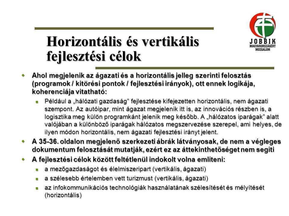 Horizontális és vertikális fejlesztési célok  Ahol megjelenik az ágazati és a horizontális jelleg szerinti felosztás (programok / kitörési pontok / f
