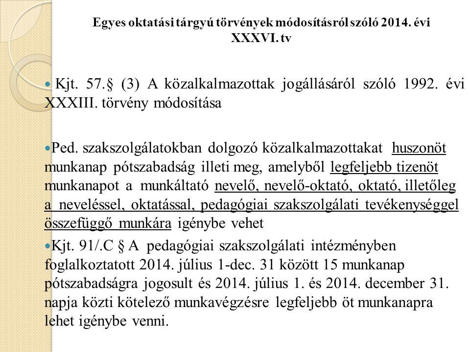 Egyes oktatási tárgyú törvények módosításról szóló 2014.