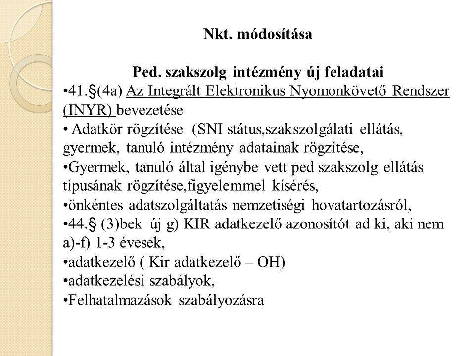 44/B.§ Az INYR a) a pedagógiai szakszolgálati ellátásban részesülő személy aa) 44.