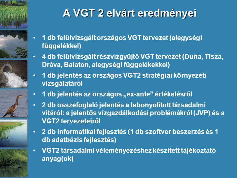 A VGT 2 elvárt eredményei A VGT 2 elvárt eredményei 1 db felülvizsgált országos VGT tervezet (alegységi függelékkel) 4 db felülvizsgált részvízgyűjtő