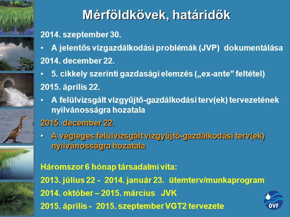Mérföldkövek, határidők 2014. szeptember 30. A jelentős vízgazdálkodási problémák (JVP) dokumentálása 2014. december 22. 5. cikkely szerinti gazdasági