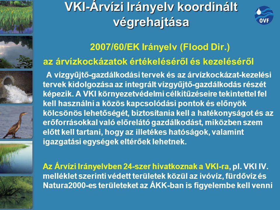 VKI-Árvízi Irányelv koordinált végrehajtása 2007/60/EK Irányelv (Flood Dir.) az árvízkockázatok értékeléséről és kezeléséről A vízgyűjtő-gazdálkodási
