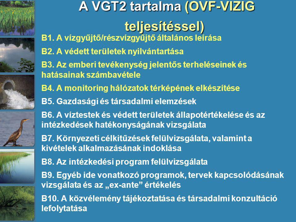 A VGT2 tartalma (OVF-VIZIG teljesítéssel) A VGT2 tartalma (OVF-VIZIG teljesítéssel) B1. A vízgyűjtő/részvízgyűjtő általános leírása B2. A védett terül
