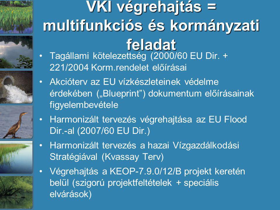 VKI végrehajtás = multifunkciós és kormányzati feladat Tagállami kötelezettség (2000/60 EU Dir. + 221/2004 Korm.rendelet előírásai Akcióterv az EU víz