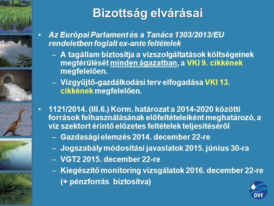 Bizottság elvárásai Az Európai Parlament és a Tanács 1303/2013/EU rendeletben foglalt ex-ante feltételek –A tagállam biztosítja a vízszolgáltatások kö