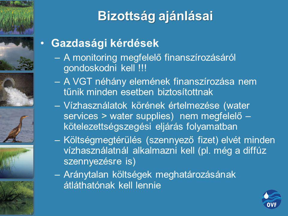 Bizottság ajánlásai Gazdasági kérdések –A monitoring megfelelő finanszírozásáról gondoskodni kell !!! –A VGT néhány elemének finanszírozása nem tűnik