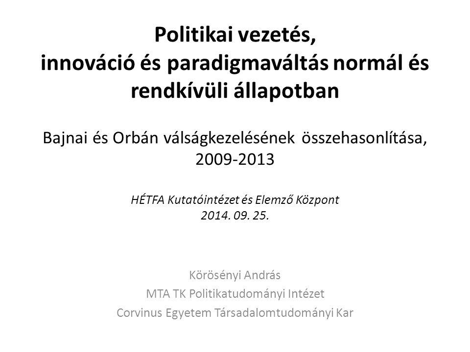 Politikai vezetés, innováció és paradigmaváltás normál és rendkívüli állapotban Bajnai és Orbán válságkezelésének összehasonlítása, 2009-2013 HÉTFA Kutatóintézet és Elemző Központ 2014.