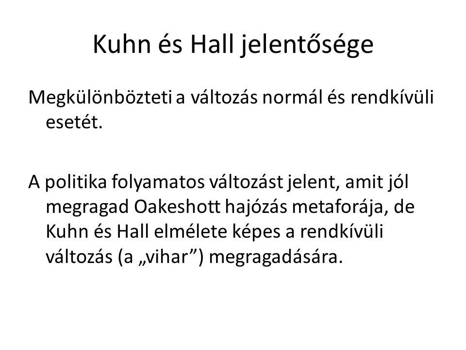 Kuhn és Hall jelentősége Megkülönbözteti a változás normál és rendkívüli esetét.