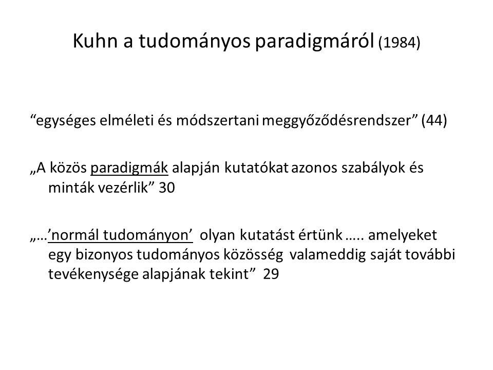 """Kuhn a tudományos paradigmáról (1984) egységes elméleti és módszertani meggyőződésrendszer (44) """"A közös paradigmák alapján kutatókat azonos szabályok és minták vezérlik 30 """"…'normál tudományon' olyan kutatást értünk ….."""