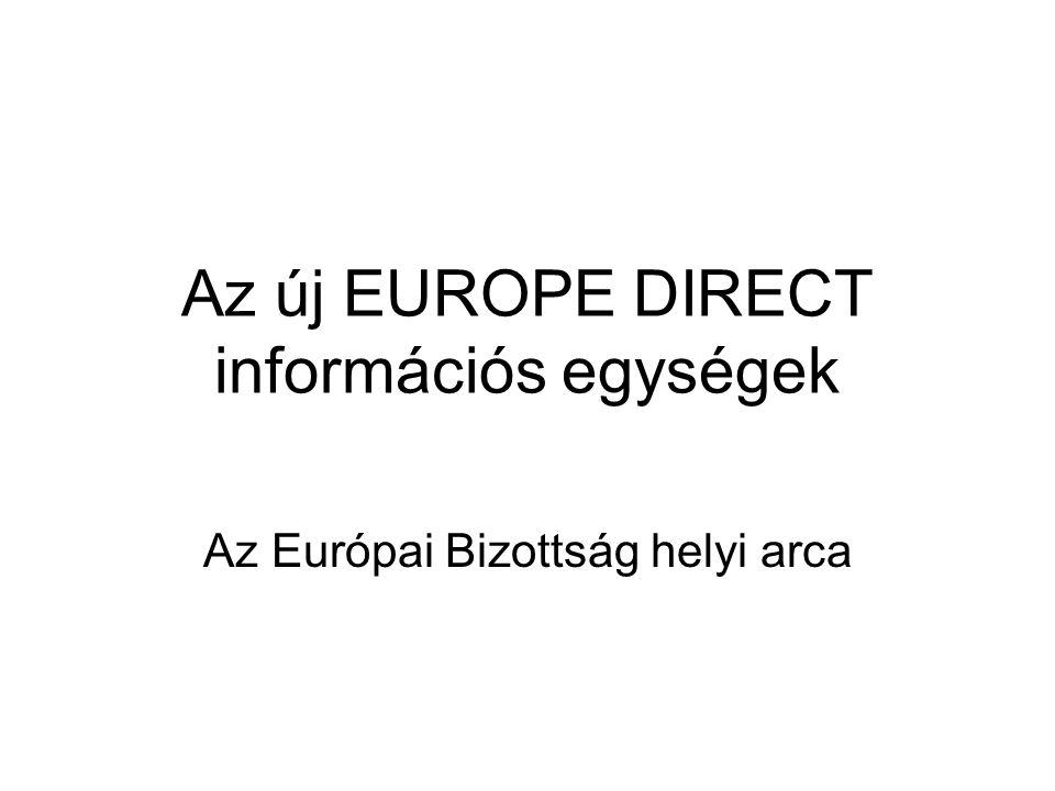 EUROPE DIRECT információs egységek 2005 - 2008 Egységes uniós információs hálózat: - minden tagállamban - a pénzügyi szabályozásnak megfelelően Több információs egység: -a 15-tagállamban -az új tagállamokban