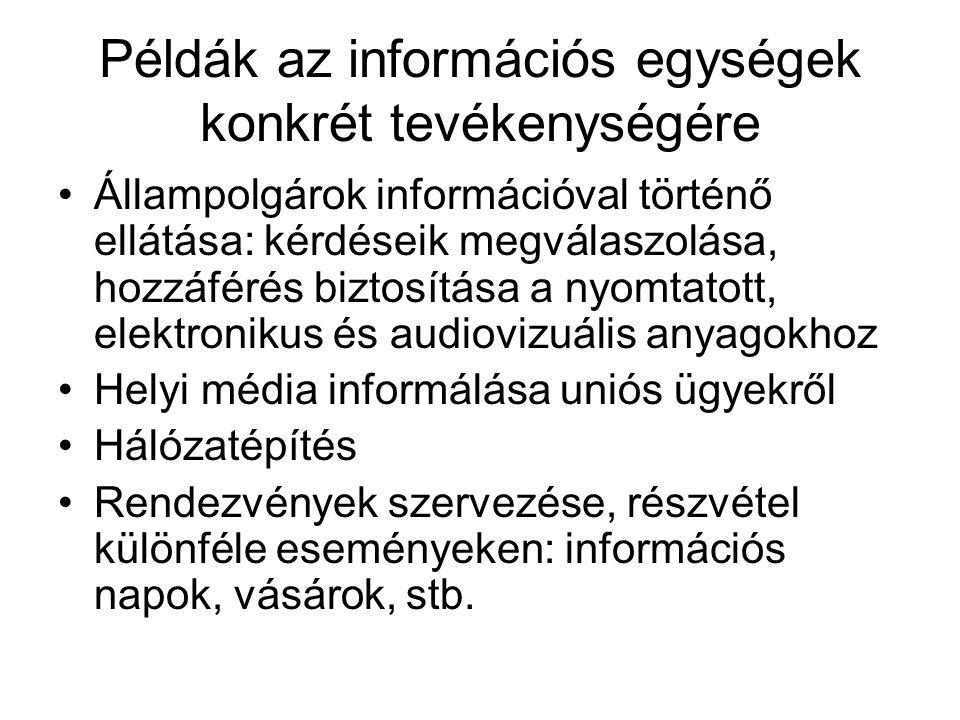 Példák az információs egységek konkrét tevékenységére Állampolgárok információval történő ellátása: kérdéseik megválaszolása, hozzáférés biztosítása a nyomtatott, elektronikus és audiovizuális anyagokhoz Helyi média informálása uniós ügyekről Hálózatépítés Rendezvények szervezése, részvétel különféle eseményeken: információs napok, vásárok, stb.
