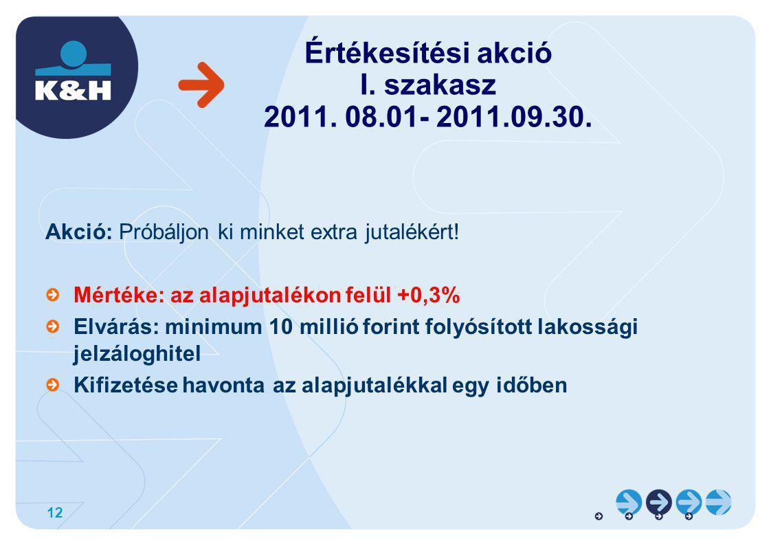 12 Értékesítési akció I. szakasz 2011. 08.01- 2011.09.30.