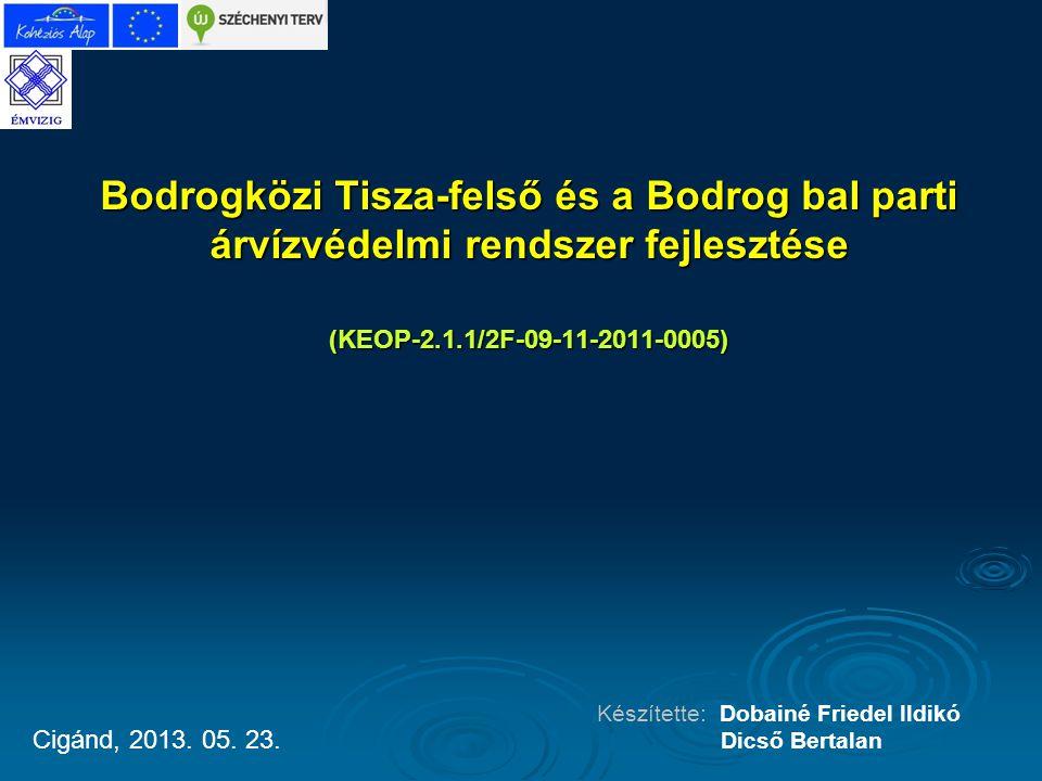 Bodrogközi Tisza-felső és a Bodrog bal parti árvízvédelmi rendszer fejlesztése (KEOP-2.1.1/2F-09-11-2011-0005) Készítette: Dobainé Friedel Ildikó Dics