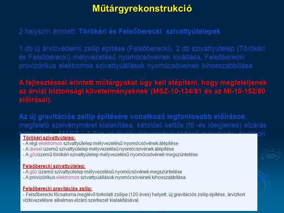 Műtárgyrekonstrukció 2 helyszín érintett: Törökéri és Felsőberecki szivattyútelepek 1 db új árvízvédelmi zsilip építése (Felsőberecki), 2 db szivattyú