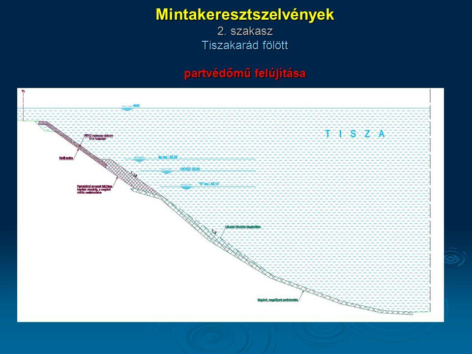 Mintakeresztszelvények 2. szakasz Tiszakarád fölött partvédőmű felújítása