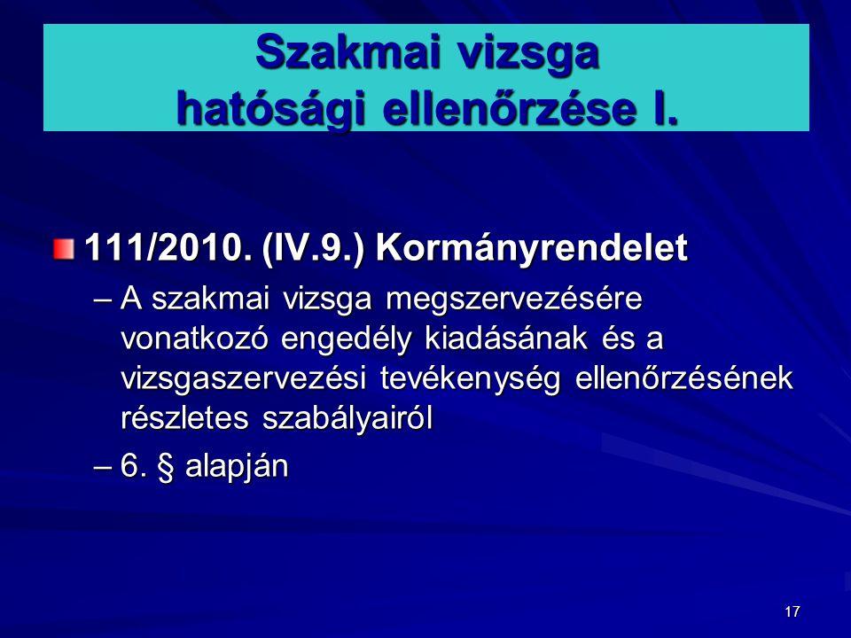 17 Szakmai vizsga hatósági ellenőrzése I. 111/2010. (IV.9.) Kormányrendelet –A szakmai vizsga megszervezésére vonatkozó engedély kiadásának és a vizsg