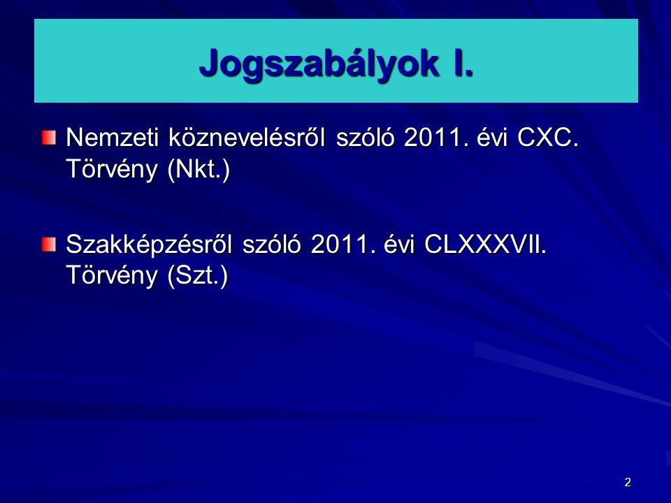 2 Jogszabályok I. Nemzeti köznevelésről szóló 2011. évi CXC. Törvény (Nkt.) Szakképzésről szóló 2011. évi CLXXXVII. Törvény (Szt.)