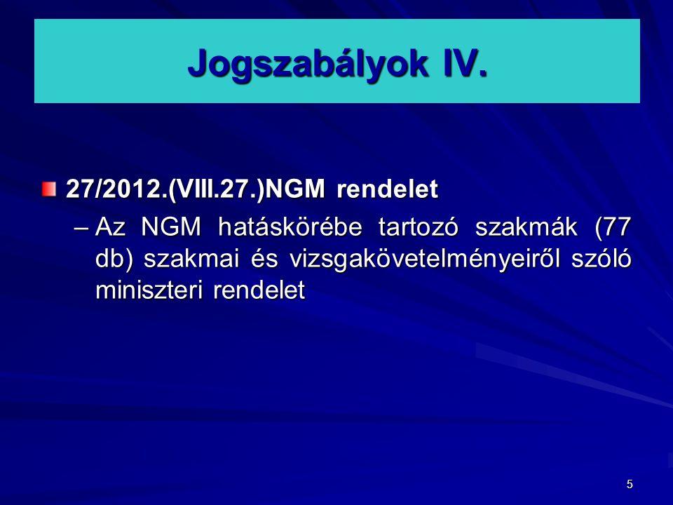 5 Jogszabályok IV. 27/2012.(VIII.27.)NGM rendelet –Az NGM hatáskörébe tartozó szakmák (77 db) szakmai és vizsgakövetelményeiről szóló miniszteri rende